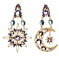 European Austrian Crystal rhinestones Sun and moon Stud Earrings Big Long Earrings Jewelry for Women 2016 Trendy XL0375 A2