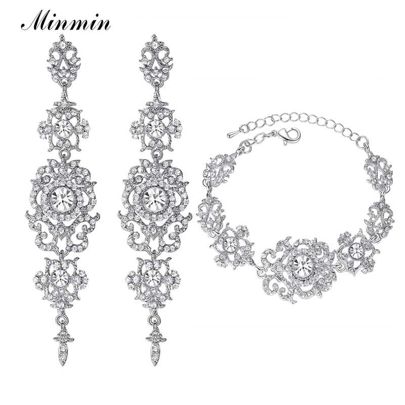 Minmin Luxury Crystal Bridal Jewelry Sets for Women Silver Color Bracelets Earrings Wedding Party Prom Jewelry Sets EH182+SL031