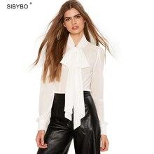 Sibybo женские блузки с элегантным бантиком воротник длинный рукав; пуговицы рубашки женские пикантные плюс Размеры Прозрачная Рассыпчатая OL blusas топы