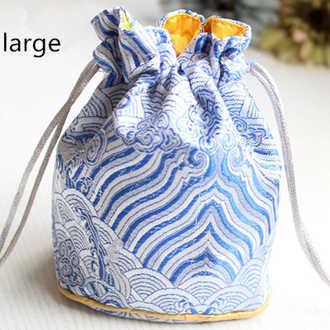 3 размера, толстый мешок-ведро на шнурке, китайский мешочек из шелка для украшений, атласный цветочный тканевый мешок для подарков, круглые нижние упаковочные сумки