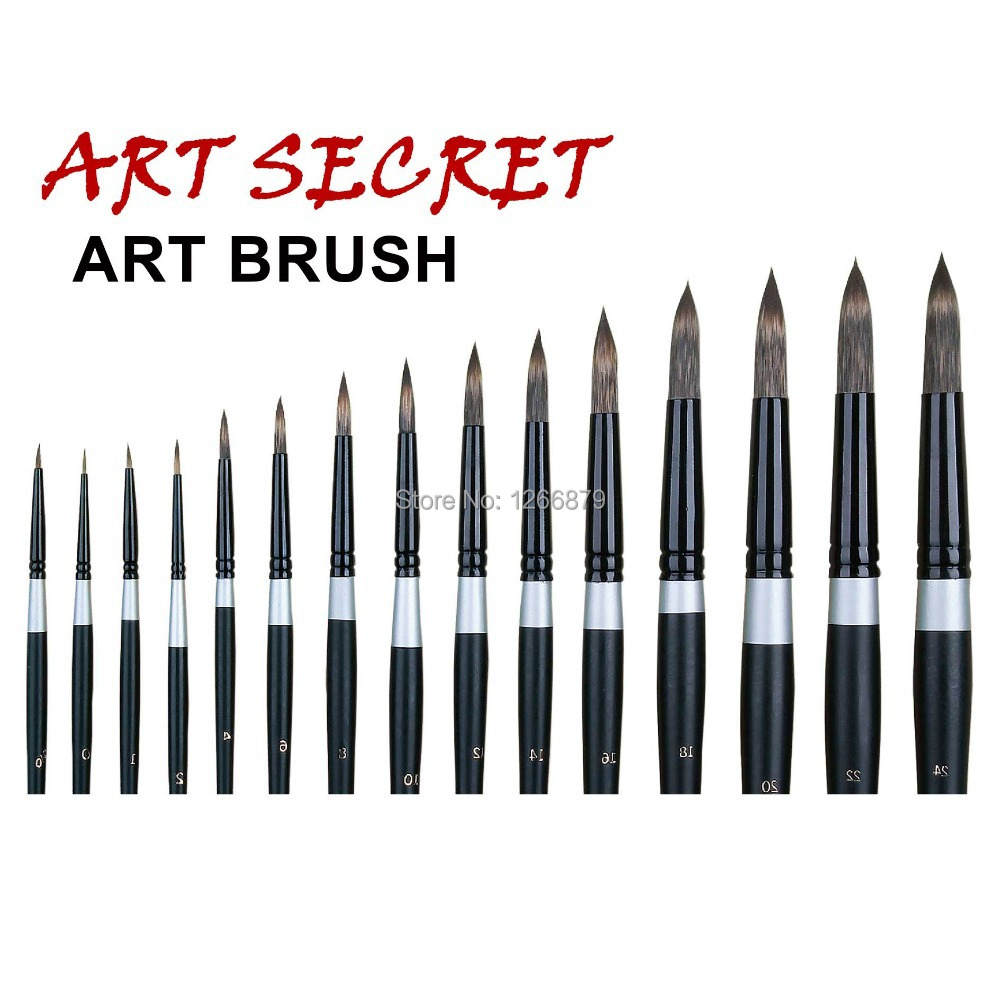 960R Korea Importing Taklon Hair Brass Ferrule Wooden Handle Round Watercolor Acrylic Paint Art Supplies Artist Brush