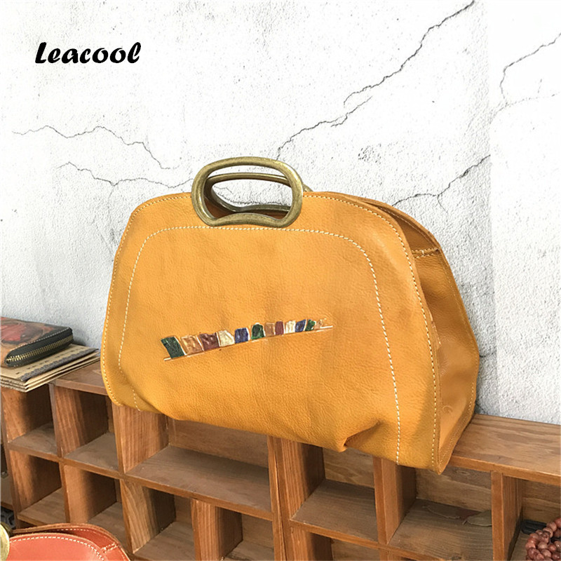 Фотография Vintage Casual Vegetable Tanned Leather Handbag Women Tote Bag Ladies Clutches Famous Travel Brand Motorcycle Travel Bags
