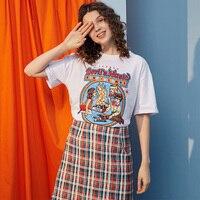 UNIFREE 2019 summer vintage Short Sleeve feeling girl white t shirt tops Interesting Printing Design korean style U192G004BV