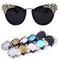 Outeye 2017 mujeres de la marca de lujo gafas de sol de la flor de la joyería rhinestone decoración gafas de sol vintage shades gafas gafas de sol