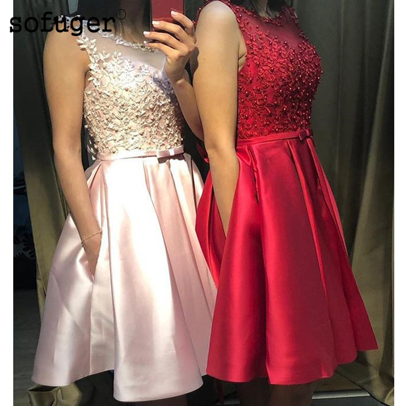 Pink Tank Satin A Line Pearls Bow Short Homecoming Party Dress Evening Dress Prom Vestidos De Fiesta Formal Special Occasion