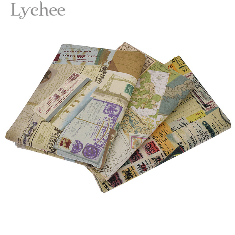 Lychee Vintage Printed World Maps Linen Fabric Retro Style ...