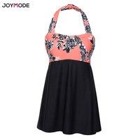 JOYMODE Plus Size Pad Halter Skirt Swimwear 2018 Women One Piece Swimsuit Monokini Bikini Swimwear Dress