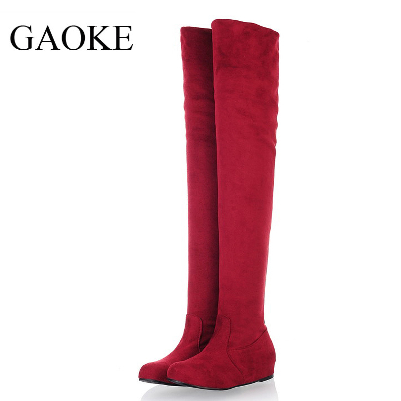 Women Stretch Faux Suede Slim Thigh High Boots Sexy Fashion Over the Knee Boots Height Increasing Woman Shoes набор else palermo для масла уксуса и специй 5 предметов