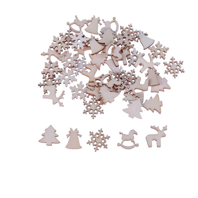 50pcs/100pcs Christmas English Letter Numbers Wood Chip Wooden New Year Decoration Ornaments For Hair Accessories Pins hHand DIY