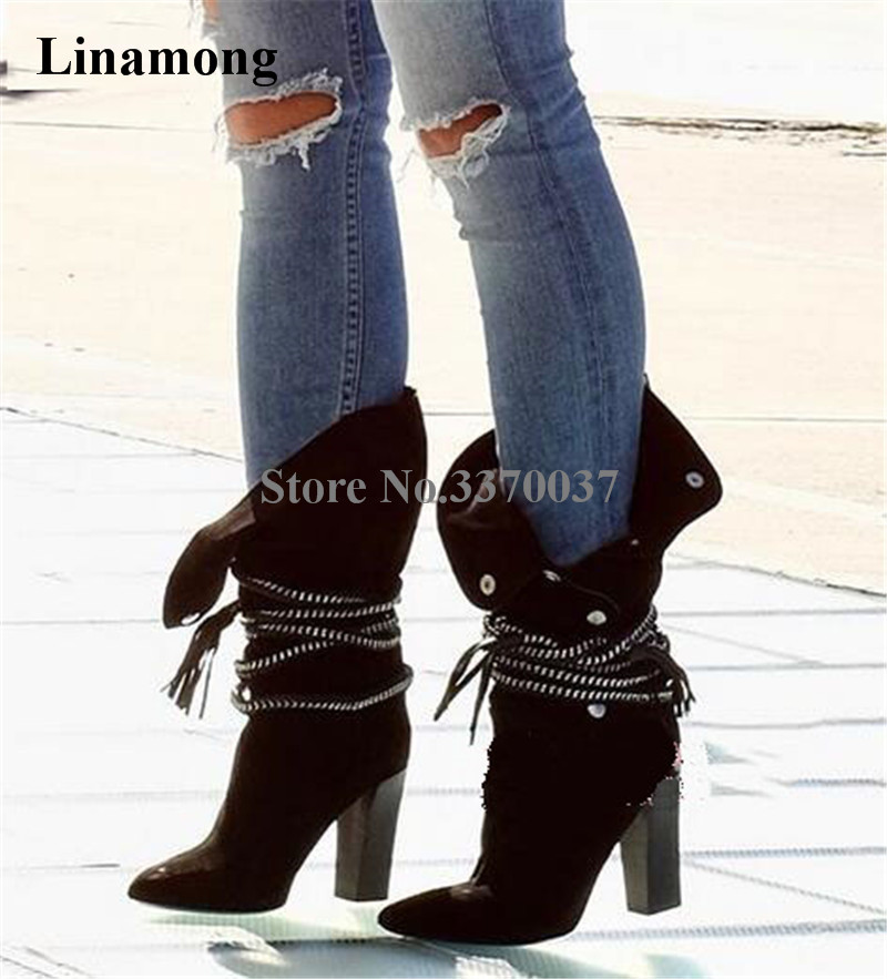 High Quality Women Fashion Pointed Toe Suede Leather Chunky Heel Mid-calf Boots Lace-up Buckles Thick High Heel Boots sorbern 17cm square chunky high heel mid calf boots lace up round toe women boots chunky platform boots plus size women autumn