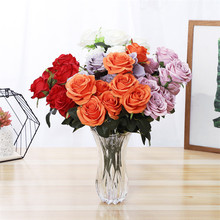 50cm Red Pink Artificial Flower 10 Head Bouquet Home Wedding Party Decoration Bride Holding Flowers Fake Silk Rose