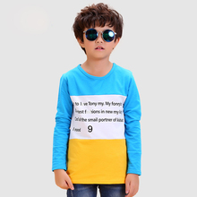 Yellow Letter Boy T-shirts Cotton 2016 Fashion Long Sleeve Children's Tops Clothing Character Unisex Tees Letter Boy T-shirts