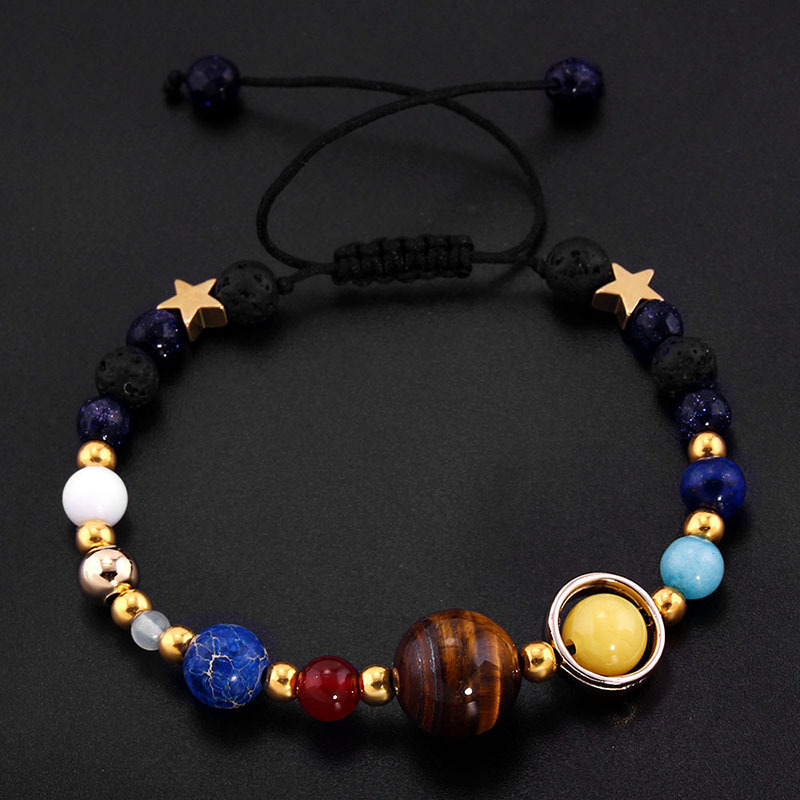 DIEZI Universe Galaxy the Eight Planets in the Solar System Guardian Star Natural Stone Beads Bracelet Bangle for Women & Men