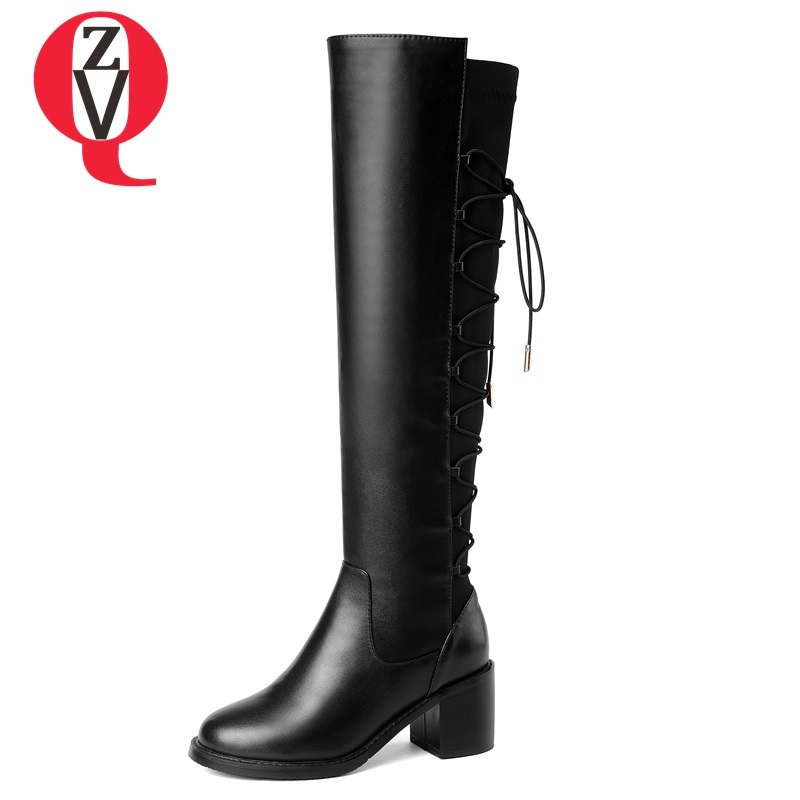 ZVQ high quality knee high boots women soft genuine leather knee winter boots comfortable warm plush black fashion women shoes 2016 new fashion winter knee high boots high quality personality knee high boots comfortable genuine leather boots