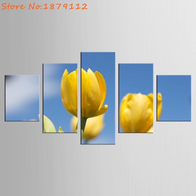 Yellow Tulip Flower Canvas Wall Art Frame 5 Panels Paintings Living ...