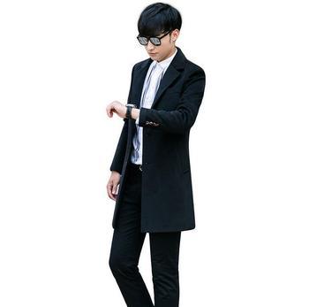 Wool coats men's clothing black 2020 autumn winter business casual long woolen coat men overcoat suit collar plus size outerwear