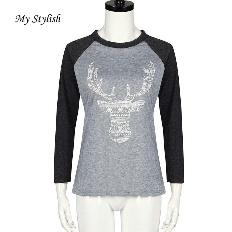 3fd32ce3bd 1 unids mujeres Navidad Deer empalme redondo manga larga Masajeadores de cuello  blusa superior moda mi tienda con estilo nov 17