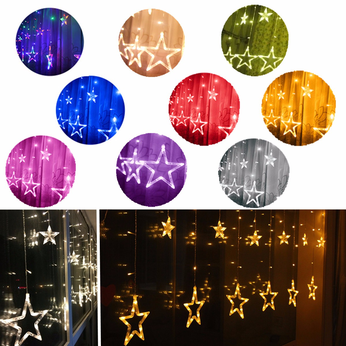 2.5m Battery Powered Star Fairy Led String Curtain Waterfall Light Lamp Christmas Wedding Party Home Decor Lighting Lights