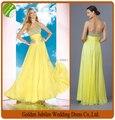 2015 Custom Made Floor Length Sweetheart Yellow Chiffon A Line Prom Dress 2015 Long Evening Gown vestido de festa Longo P41