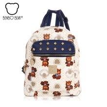 Benbobear печать мода рюкзак женщины путешествий для школы сумки для девочек-подростков качество Искусственная кожа рюкзак