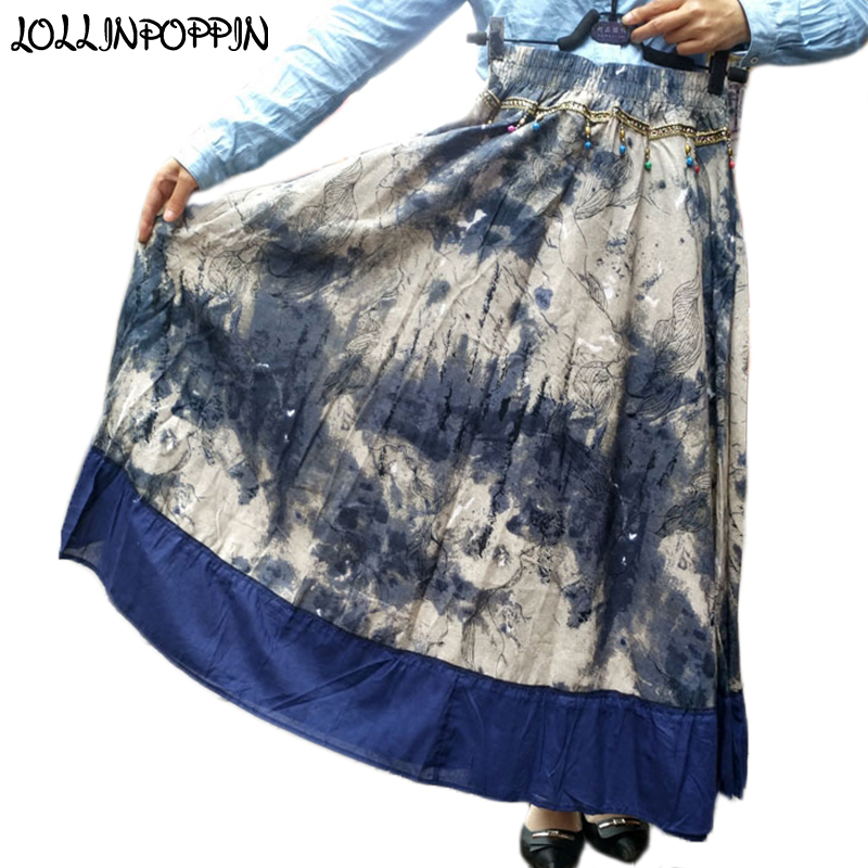 Women Tie Dye Long Linen Skirt Ethnic National Style Elastic Waist Braided Cotton & Linen Casual Skirt With Pendants Wide Bottom