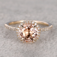 7mm Morganite Engagement Ring Yellow Gold Topaz Wedding Band 14k Round Cut Gemstone Promise Bridal Ring