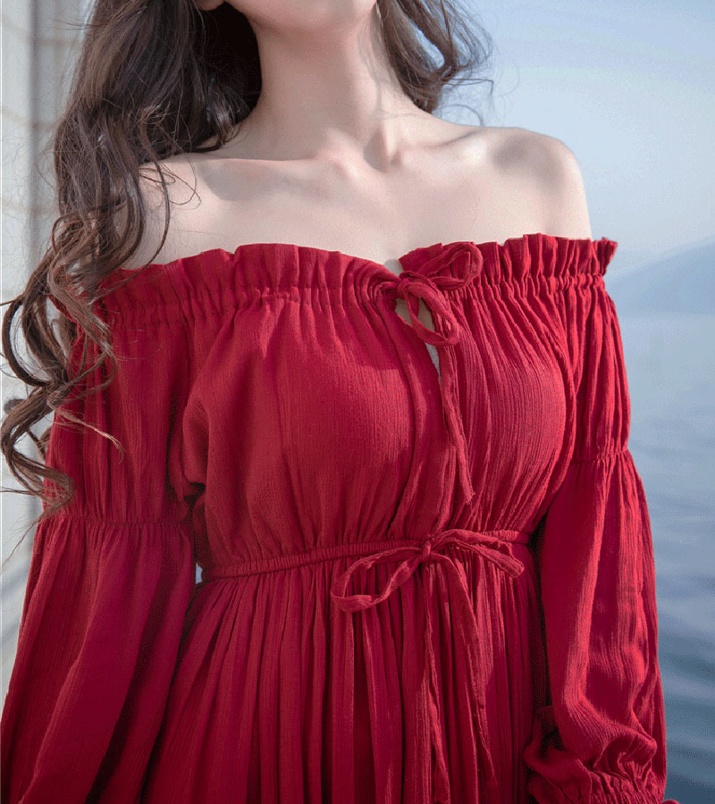 PERHAPS U red strapless long puff sleeve maxi long dress solid off shoulder loose D0526 6
