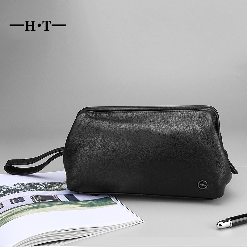 HT Genuine Leather Triangle Day Clutches Mens Handbag Black Wallet Cow Leather Cellphone Pockets Clutches Hand Bags Purse MaleHT Genuine Leather Triangle Day Clutches Mens Handbag Black Wallet Cow Leather Cellphone Pockets Clutches Hand Bags Purse Male