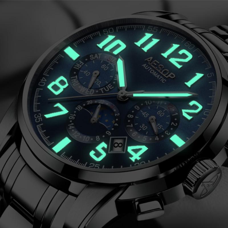 Aesop Luxury Men Automatic Mechanical Wrist Watches Top Brand Luminous Men's Watches 3 Sub-dials 6 Hands reloj hombre 2018 NEW