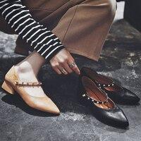 MYCORON/Классическая Брендовая обувь, женская повседневная обувь с острым носком, черная обувь ручной работы, женская обувь на плоской подошве,
