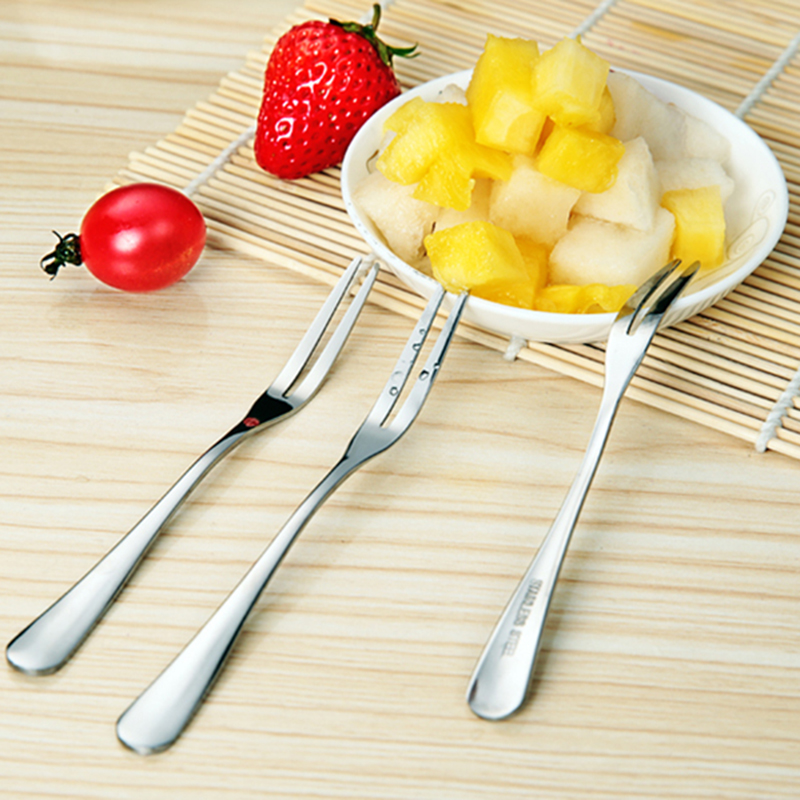 Fruit Forks 4-piece Stainless Steel Two Prong Forks Bistro Cocktail Forks Tasting Appeti ...