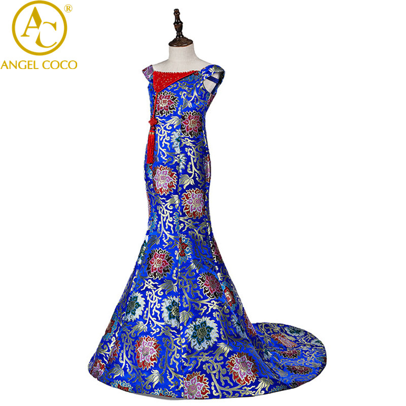 Girls Evening Dress Elegant Mermaid Fashion Mother'S Evening Gown Chinese Style Retro Banquet Long Party Dress Female Cheongsam вечернее платье dear lover mermaid dress 2015 lc60064 lc60064 long evening dress