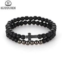 HOBBORN Trendy Cross Men Women Bracelet Set Black Matte Onyx Handmade Christian Prayer Healing Charm Bracelets Energy Pulsera