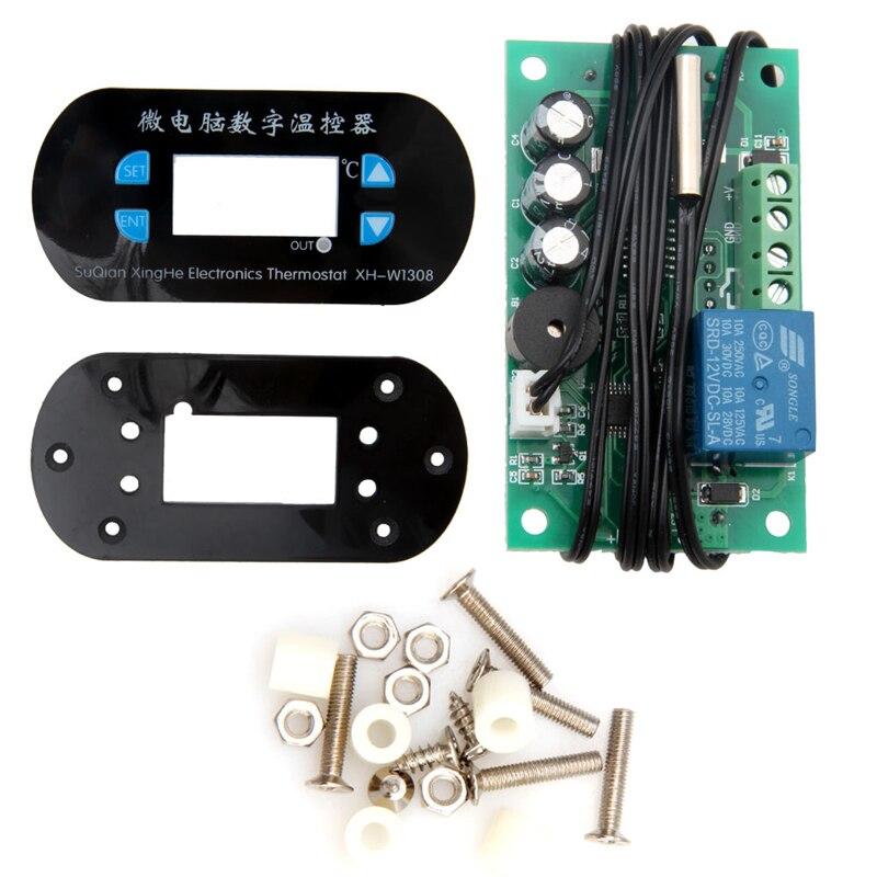 AC/DC12V Digital Thermostat Temperature Alarm Controller Meter Sensor Blue LED