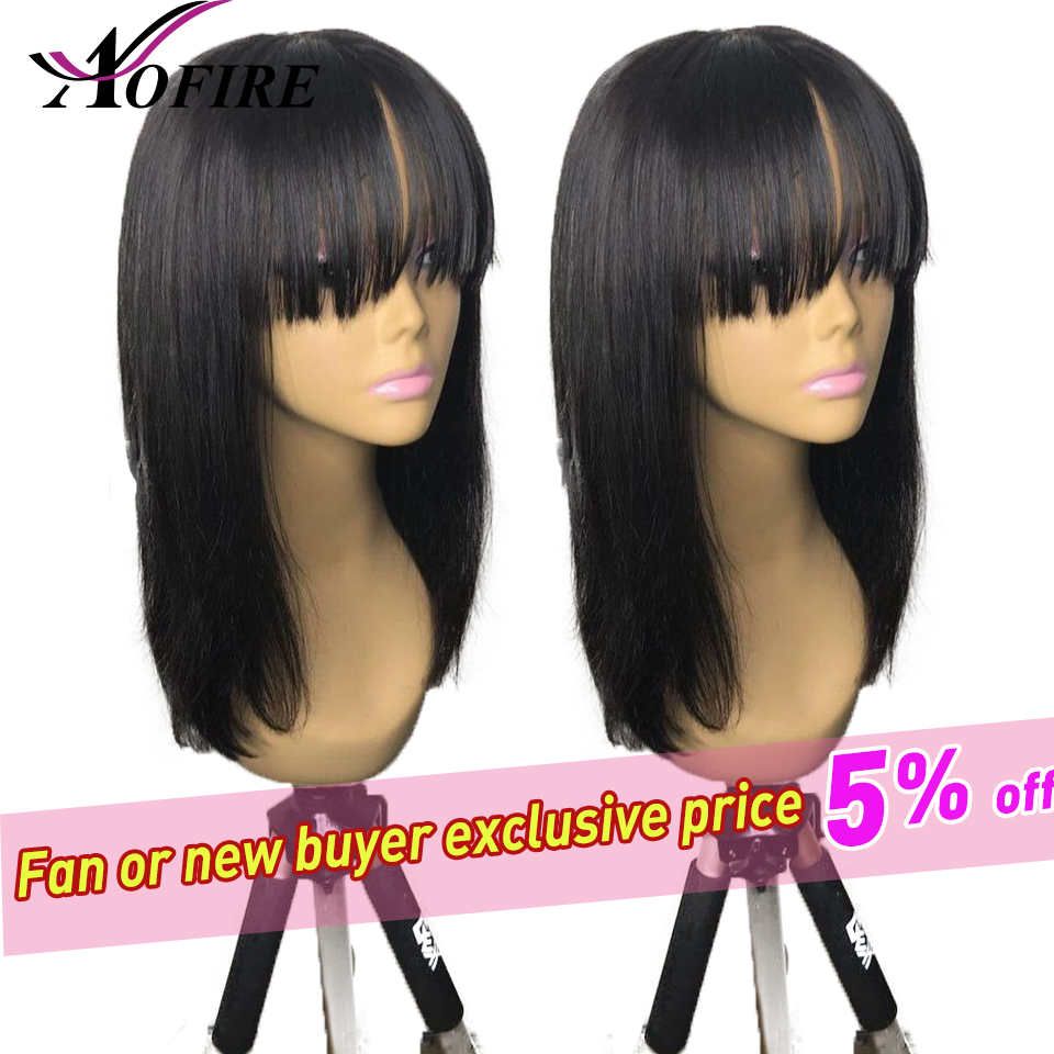 Aofire 13X6 Lace Front Wigs With Bangs Malaysian Remy Lace Front Human Hair Wigs For Black Woman Pre Plucked With Baby Hair