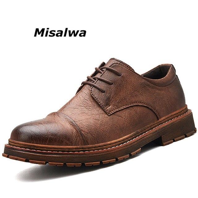 2819e7506f01c6 Misalwa Men's Uniform Work Shoes Safety Toe Boots Brown Leather Shoes Men  Natural Rubber Blend Soles Lace up Oxfords Footwear