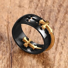 Separable Cross Ring for Men Woman Black Color Stainless Steel Cool Male Wedding Band
