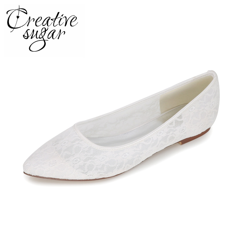 Creativesugar Sweet soft lace woman flats shoes party wedding daily pointed toe slip on rubber sole bridal shoes ivory white red