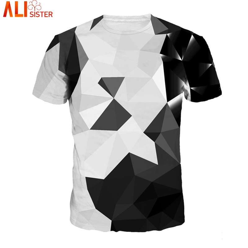 2e799b62d348 Alisister Argyle Color Blocks 3d T Shirt Men Women Summer Casual T-Shirts White  Black