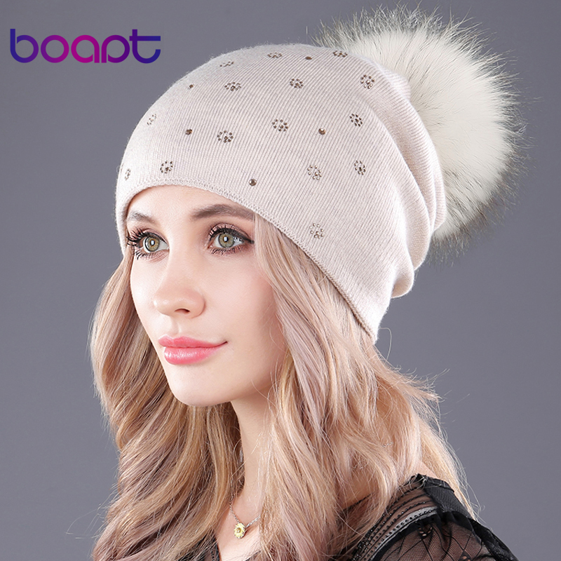 boapt natural real raccoon fur fluffy pompon cashmere knitting winter hats for women caps beanie