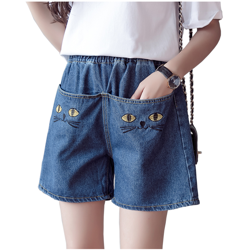 Denim   Shorts   Elastic Waist Plus Size Cat Embroidery 5xl   Short   Jeans Lady 2019 Women Summer Big Pocket Casual   Shorts   Feminino