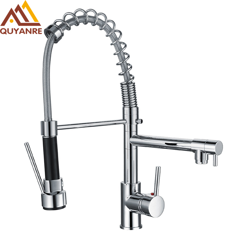 Quyanre Chrome Spring Kitchen Sink Faucet With Pull Out Sprayer Dual Function Flow 360 Rotation Single Handle Mixer Tap Faucet