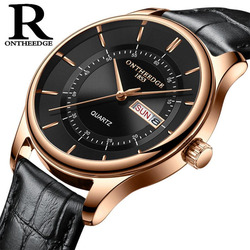hot fashion man's quartz auto date wristwatch brand waterproof leather watches for men casual rose gold watch for male 2018 NEW