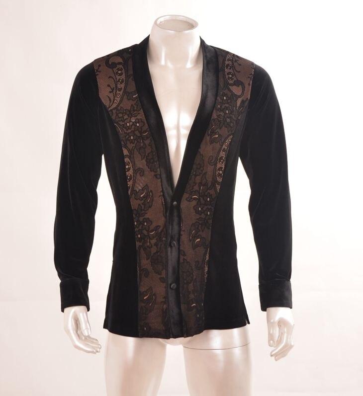 Костюмы для латиноамериканских танцев Танцы бархатной ткани кружева фронт рубашка V воротник Костюмы для латиноамериканских танцев пальто... ...