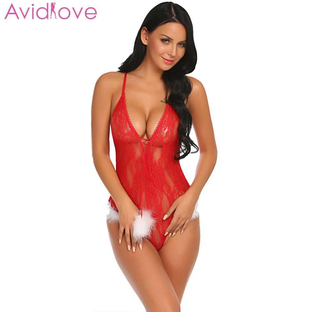 d901cac727d ... Avidlove Women Christmas Bodystocking Body Suit One Piece Nightwear Lace  Lingerie Teddy Sexy Bodysuit Sheer ...