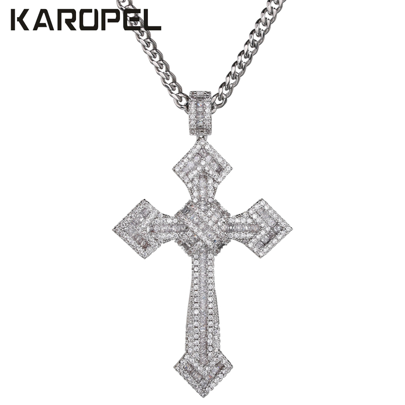 Karopel Men Women Micro Pave AAA Zircon Cross Pendant Iced Out CZ Cross Pendants Necklace Stainless