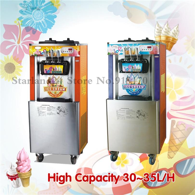 Soft Ice Cream Machine Commercial Icecream Maker Three Heads Digital Control 220V Capacity 32~35liters/Hour цена