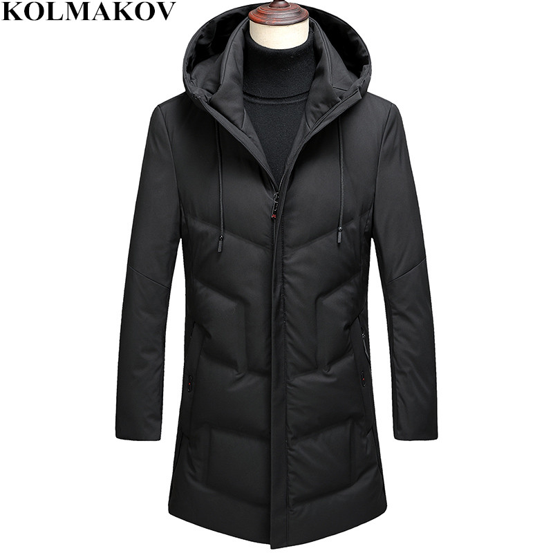 KOLMAKOV Men's Clothing 2018 New Mens 85% White Duck   Down     Coats   Homme Winter Hooded   Down   Jackets Man M-3XL Business Casual   Coat