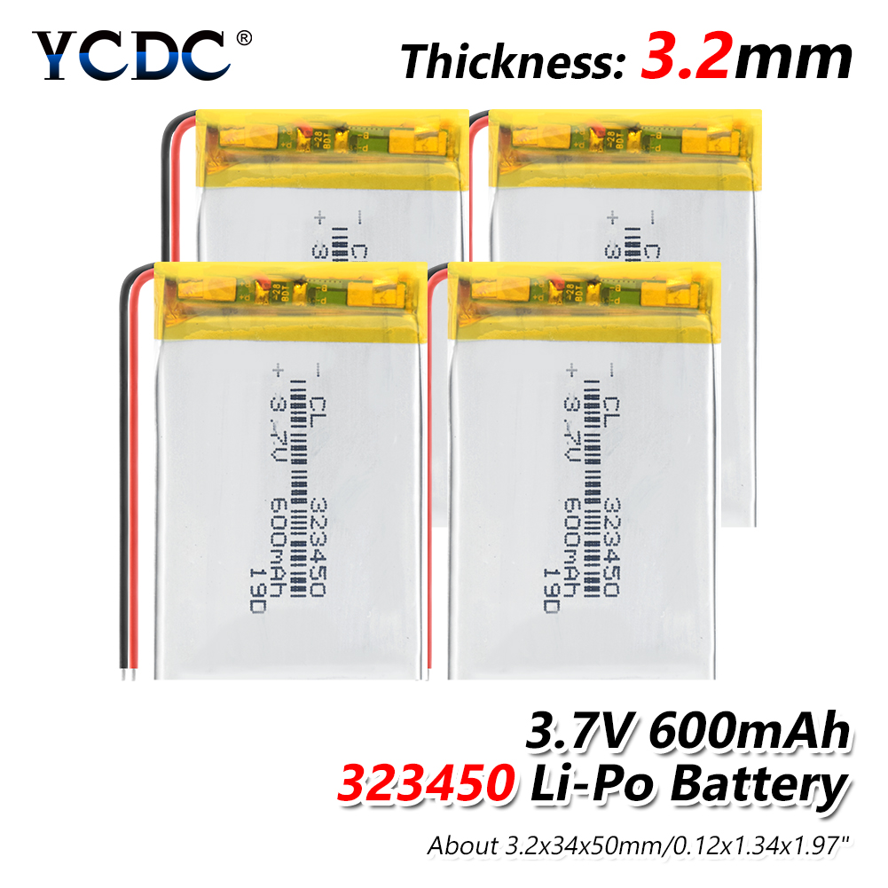 <font><b>3.7v</b></font> <font><b>600mAh</b></font> lithium polymer 1/2/4Pcs 323450 battery 3 7V volt li po ion lipo rechargeable batteries for dvd GPS navigation image