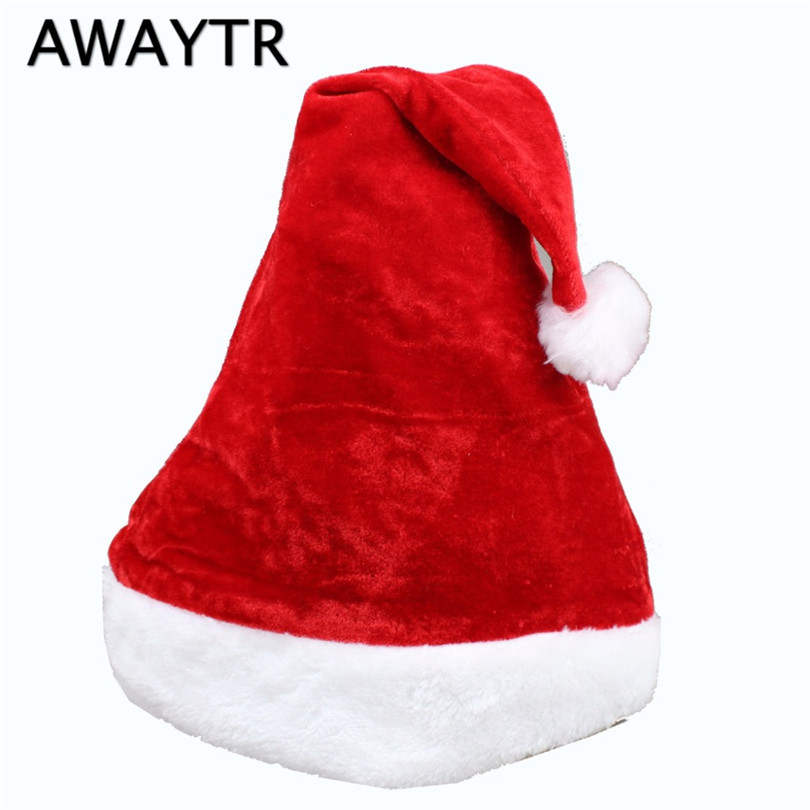 AWAYTR High Quality New Year Christmas Santa Claus Hat Red Children Adult Santa Cap Costume Chritsmas Party Decoration inflatable cartoon customized advertising giant christmas inflatable santa claus for christmas outdoor decoration